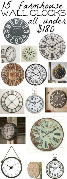 amazing farmhouse style clocks all for under $180 - Great for focal walls over couches, mantels, gallery walls, and more. A must pin for future decorating projects!