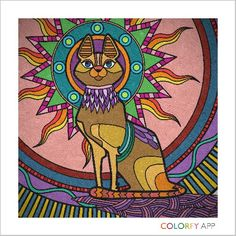 Egyptian cat that I colored with colorfy