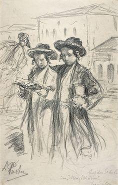 "LEONID PASTERNAK - Inscribed Aus der Schule in ""Mea Schurim"" Jerusalem 1924…"