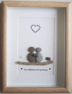 Pebble Art framed Picture  Couple  You will forever be my