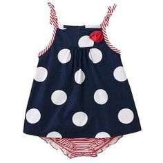 Amazon.com: JUST ONE YOU ™ Made by Carter's ® Infant Girls' Dots/Flower Sunsuit - Navy/Red: Clothing
