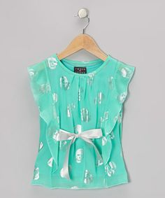 Take a look at this Mint & Silver Skulls Flutter-Sleeve Top - Toddler by Btween on #zulily today!