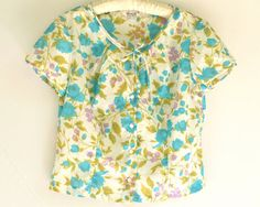Vintage 50s / 60s Rockabilly Blouse  Turquoise by ModLoungeVintage, $32.00