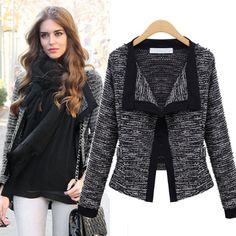 Lapel Long Sleeves Slim Fashion Short Coat