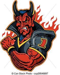 Vector - devil football player - stock illustration, royalty free illustrations, stock clip art icon, stock clipart icons, logo, line art, EPS picture, pictures, graphic, graphics, drawing, drawings, vector image, artwork, EPS vector art