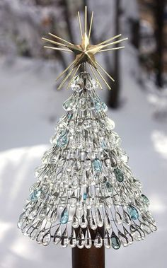 Glass Teardrop Christmas Tree!!! Bebe'!!! So pretty!!!