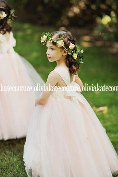 Gorgeous Blush Flower Girl Dress Floor Length by OliviaKateCouture