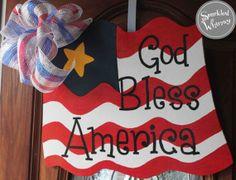 God Bless America Flag Door Hanger Sign by SparkledWhimsy