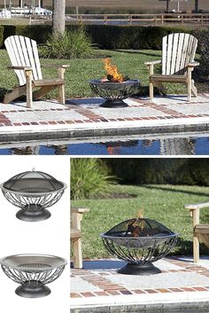 "This unique fire pit features a 30"" stainless steel fire bowl which sits atop an attractive urn base. This fire pit comes complete with a dome fire screen with high heat paint and a wood grate. Also included is a screen lift tool."