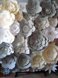 DIY Paper Flower Backdrop Ivory Grey White by DreamEventsinPaper $325 #paperflowers #paperflowerbackdrops #paperflowerwall #paperflowerbackdrop
