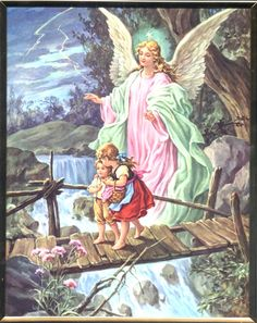 Guardian Angel Crossing the Bridge with Children Wall Plaque