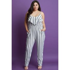 Striped Ruffle Tier Sleeveless Jumpsuit ($73) via Polyvore featuring jumpsuits, plus size jump suits, plus size jumpsuits rompers, plus size sleeveless jumpsuit, jump suit and sleeveless jumpsuit