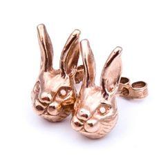 Rose gold bunny stud earrings by Beau & Arrow