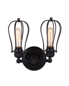 Two Lights Rustic Style Iron Grapefruit-like Shade Wall Sconce - ParrotUncle