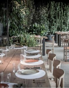 Ana La Santa, a Madrid restaurant, keeps it with family tradition: the bright, verdant, Scandinavian-inspired interiors were designed by Tarruella's sister, Sandra.