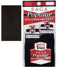 "Saga Popular Yaky 14""14""16""18"" - Color 2 - Human Weaving - 4 pcs"