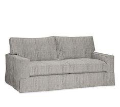 PB Comfort Square Arm Deluxe Sleeper Sofa Slipcover, Box Edge, Sunbrella(R) Performance Sahara Weave Charcoal