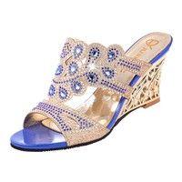 Wish | Elegant women wedges sandals singbacks sexy open toe woman sandels shoes cut out heel flowers ladies party wedding shoes