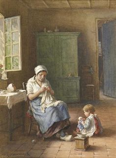 The Sewing Lesson By William Kay Blacklock British 1872 1924 With A Doll Sewing Lessons Art