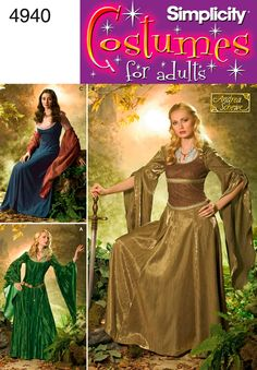 UNCUT Misses' Dress Sewing Pattern Simplicity 4940 Halloween Costume, Cosplay, Renaissance, Medieval, Bell Sleeve Costume Renaissance, Medieval Costume, Victorian Costume, Renaissance Fair, Tauriel, Costume Dress, Cosplay Costumes, Gown Dress, Elf Costume