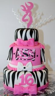 Sweet 16 Zebra & Pink Cake Zebra w/ bright pink cake for a sweet 16 party. This girl was also into hunting with her daddy so. Sweet Sixteen Cakes, Sweet 16 Cakes, Sweet Sixteen Parties, Pretty Cakes, Cute Cakes, Beautiful Cakes, Amazing Cakes, Sweet 16 Birthday Cake, Birthday Fun