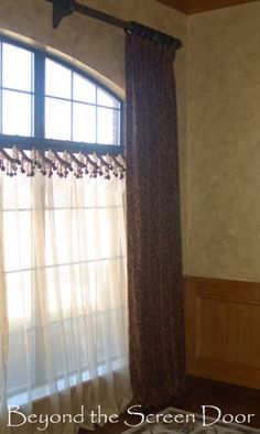 Windows on pinterest window treatments valances and for Screen porch window treatments