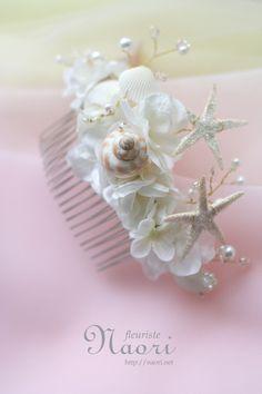 人魚姫の髪飾り 貝殻とパール