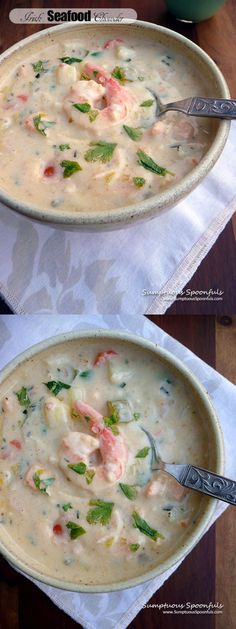 Irish Seafood Chowder - seafood recipes for dinner Irish Seafood Chowder Recipe, Seafood Boil Recipes, Chowder Recipes, Soup Recipes, Seafood Gumbo, Seafood Dinner, Crab And Shrimp Recipe, Slow Cooker Pasta, Easy Vegetarian Dinner