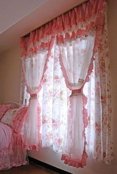How To Determine The Right Window Coverings for Your House Cottage Curtains, Shabby Chic Curtains, Home Curtains, Shabby Chic Bedrooms, Valance Curtains, Valances, Curtain Styles, Curtain Designs, Vintage Shabby Chic
