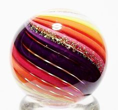"""EDDIE SEESE ART GLASS MARBLES 1-1/4"""" INTRICATE STRIPPED DICHROIC MARBLE 