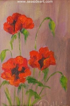 Poppies  is an original oil painting on canvas by Alice Ann Dobbin. The art measures 7″ x frame is 10″ x 8″, frame included. #art #artforsale