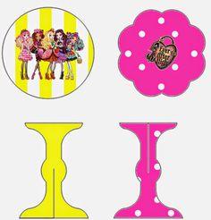Ever After High Amarillo y Rosa: Stand para Cupcakes para Imprimir Gratis. | Ideas y material gratis para fiestas y celebraciones Oh My Fiesta!