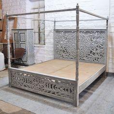 Post Bed Frame, 4 Post Bed, Grey Bed Frame, Bedroom Furniture, Bedroom Decor, Kitchen Furniture, Wooden Bedroom, Bedding Decor, Boho Bedding