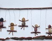 "Awesome Shadowbox Art - Made of Sticks and Stones - ""Swingin' Kids"" - 6 x14"