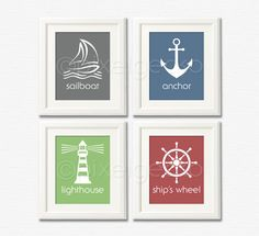 Sailor Art Print Set - Green Gray Navy Red Nursery Decor - Set of four 8x10 - Sailboat, Ship's Wheel, Lighthouse, Anchor - Sailing