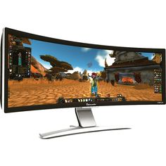 """Surround Gaming Without Bezels: Ostendo 43"""" Curved Display...OMG I need this!!! :D"""