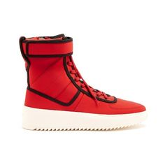 Fear Of God Military neoprene high-top trainers ($1,025) ❤ liked on Polyvore featuring men's fashion, men's shoes, men's sneakers, red multi, shoes, mens velcro strap sneakers, mens velcro sneakers, mens red high top sneakers, mens round toe shoes and mens high top velcro shoes