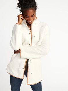 Mock-Neck Sherpa Jacket for Women    Old Navy