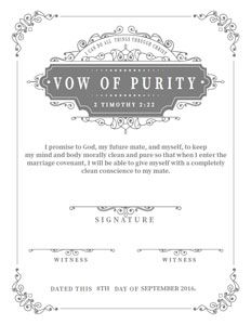 FREE Printable Purity Certificates for Guys & Girls