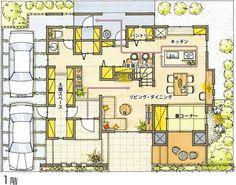 1階 Craftsman Floor Plans, Small Floor Plans, Japanese House, Architecture Plan, My Dream Home, Planer, House Plans, Sweet Home, Layout