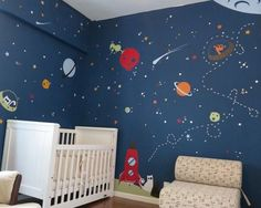 Kids Room idea- evgie outer space room.  Maybe one wall like this and the rest pale blue.
