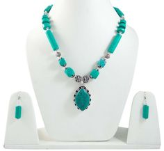 Silver Tone Brass Metal Turquoise Stone Necklace Set Indian Fashion Jewellery #iba #NotSpecified