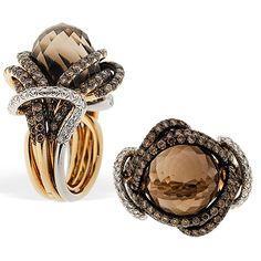 "RODNEY RAYNER   Smokey Quartz ""Rope"" ring in 18k yellow and white gold, smokey quartz center stone (22.89cts), chocolate diamonds with black rhodium and white diamonds   {ʝυℓιє'ѕ đιåмσиđѕ&ρєåɾℓѕ}"