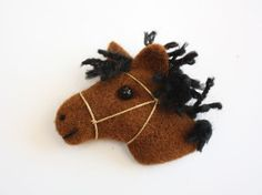 Horse Brooch Little Pony Brooch miniature needle by MrBearFamily, $15.00