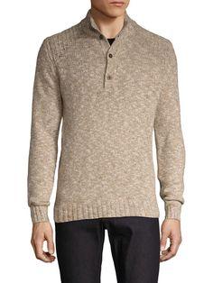 C/89 Wool Marled Half Button Sweater