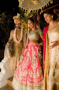 The pearl work on pastel pink makes this Indian bride's Sabyasachi lengha one that no one will forget.