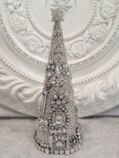 GORGEOUS Vintage Rhinestone Jewelry LARGE Christmas Tree earrings brooch OMG! **