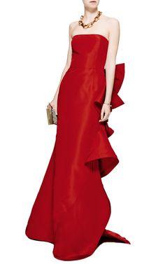 Strapless Ruffle-Back Silk Gown by Oscar de la Renta - Moda Operandi