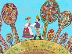 "Distinctive folk art abounded in the very ""Hungarian Folk Tales"" such as The Talking Grape, the Smiling Apple, the Trinkling Peach (Magyar népmesék / Szóló szőlő, mosolygó alma, csengő barack) Anima Mundi, Aesthetic Images, My Heritage, Children's Book Illustration, Whimsical Art, Art And Architecture, Digimon, Folk Art, Coloring Books"