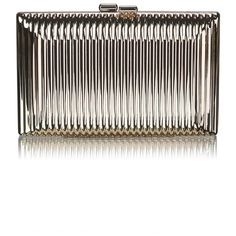 Metallic Ribbed Box Clutch Bag ($37) ❤ liked on Polyvore featuring bags, handbags, clutches, gold, gold chain purse, hard clutch, metallic purse, white handbags and metallic clutches